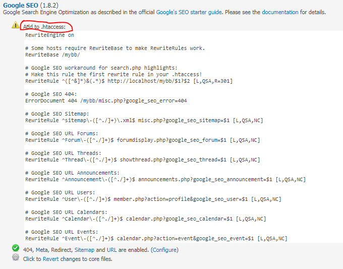 htaccess file settings for google seo plugging