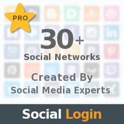 Social Login, 30+ Social Networks