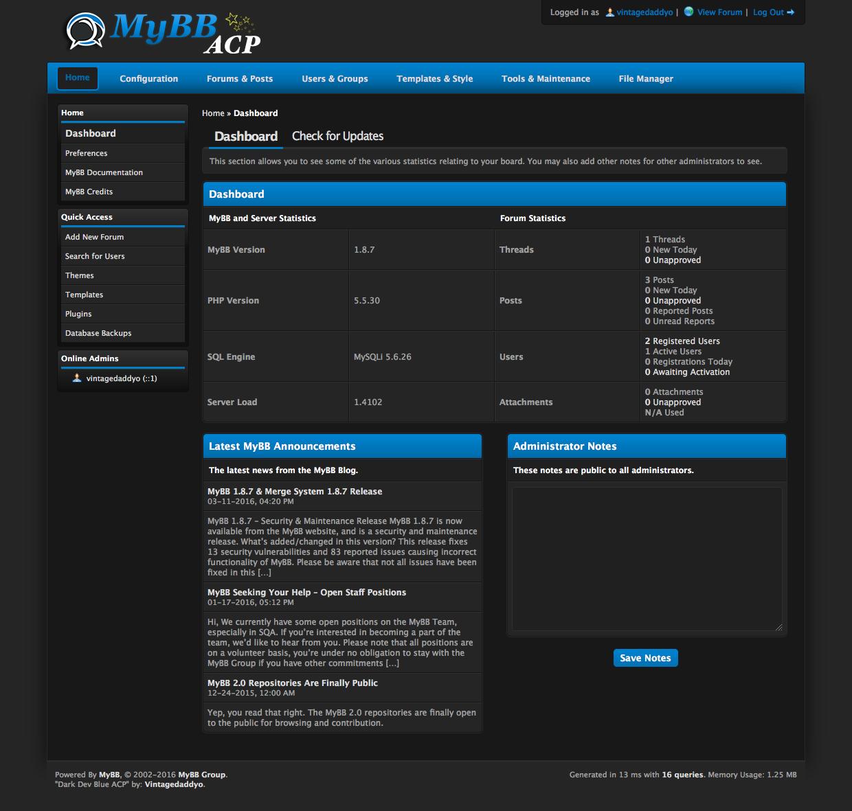 Extend MyBB - Dark Dev Blue ACP
