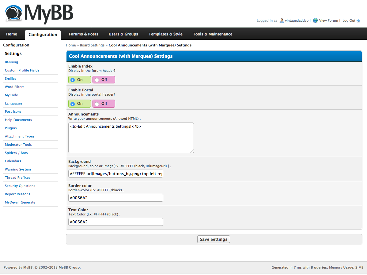 Extend MyBB - Cool announcements with Marquee