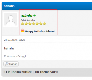 Show Birthday in Posts and congratulate PM - 1.8.x